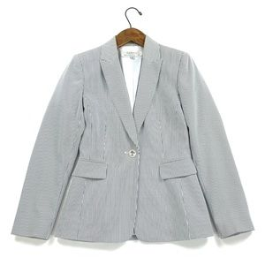 Tahari Gray Striped Single Button Blazer Womens 2